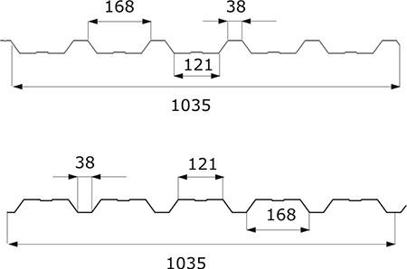 TABLĂ TRAPEZOIDALĂ T-35_dim