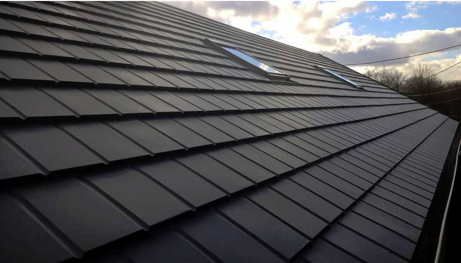 Flat roof tile / metal / gray / smooth